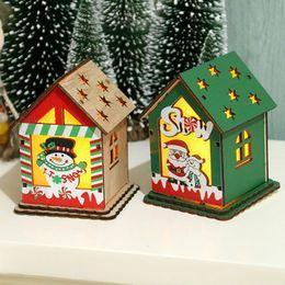 bougies de noël vacances Promotion Noël bureau Ornements Maison bricolage en bois avec l'Assemblée Bougie LED pour l'intérieur Holiday Party Décor
