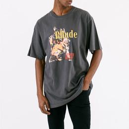 2019 camiseta asap Rhude Coyote Imprimir T-shirt Da Marca de Design de Manga Curta de Algodão Jersey Camisetas o mais rápido possível Rocky Verão Tee Streetwear SHI0308 camiseta asap barato
