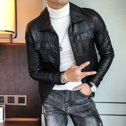 grüne lederjacke herren Rabatt Lederjacken Herren-Grün-Motorrad-Jacken Herren-Deri Ceket 2018 Fashion Lederjacke Slim Fit Chaqueta Marron Hombre