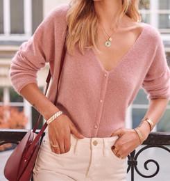 suéter de mohair damas Rebajas Suéter de punto fino de mohair y lana Señora Casual Cuello de pico Jersey de color liso Cárdigan con botones de manga larga