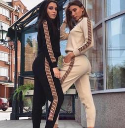 2020 le signore adattano i vestiti da jogging Acquisto libero Donna Casual Moda Autunno Primavera Maniche lunghe in due pezzi Set da jogging Donna Autunno Tute da sudore Tute Nero sconti le signore adattano i vestiti da jogging