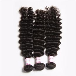 Canada Extensions de cheveux humains Les cheveux vierges brésiliens tissent le noir naturel 1b couleur 3 faisceaux de cheveux vierges brésiliens des ondes profondes peuvent être teints bon marché cheap cheap hair can dye Offre