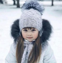 mohair crochet Promo Codes - Fashion Children Kids Mohair Knitted Beanie With Pompom Baby Girl Boy Winter Outdoor Soft Hats Crochet Warm Beanies T440