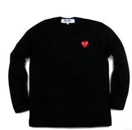 Maglietta a righe da uomo online-13 colori 2018 UNISEX Auntumn donna T Shirt Gioca ai giochi Kawakubo Red Heart wave stripe Uomini gioca Lovers T-Shirt stampata manica lunga Top Tees