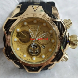 желтый водонепроницаемый чехол Скидка 2019 INVICTA роскошный золотой циферблат мужские Спортивные кварцевые часы Автоматическая дата резиновые мужские подарочные наручные часы