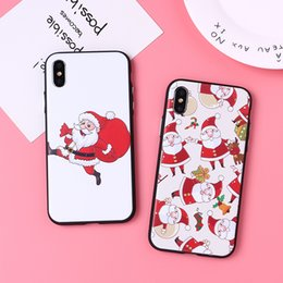 weihnachten handy fällen Rabatt Weihnachtskarikatur-Telefon-Fälle, die Knopf für iPhone Xs Max Xr prägen, prägen Acryl-Handy-Kasten für Iphone 6 7 8 X Plus