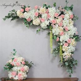 2019 vestuário de fita de cetim 1set 120 centímetros decoração estágio flor artificial parede estilo DIY Wedding Arch seda europeia subiu parede da flor decor mix planta peônia