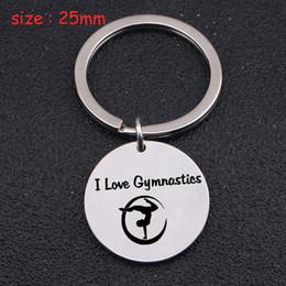 Keychain rotondo dell'acciaio inossidabile inciso amo la ginnastica per la ginnasta regalo dell'etichetta del supporto dell'atleta del regalo di modo di moda cheap gymnastic gifts da regali ginnastici fornitori