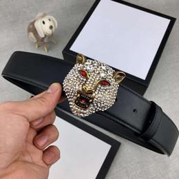 Антикварные бриллианты онлайн-Full Diamond Antique Латунь Голова Тигра Дизайнерские Ремни Роскошные Ремни G Мужчина Женщина Ремень Повседневная Гладкая Пряжка Ширина 38 мм Высокое Качество с Пакетом