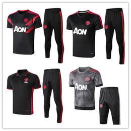 Polo noir hommes xl en Ligne-2019 20 manchester Soccer Training Suit hommes maillots de football sportswear UNITED noir pied chemises 18 19 20 Polo shirt kit