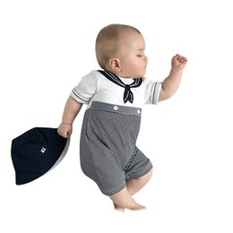 Merletti da marinaio online-Baby Sailor Costume Anchor Romper Navy Costumes for Infants 2019 Newest cotone grigio manica corta tuta costume di Halloween bambino