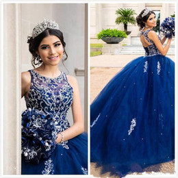 luxuoso doce 16 vestidos Desconto Luxuoso frisada Lace Quinceanera Vestidos Jewel Neck Real Blue Ball Evening Partido vestido Vestidos Sweet 16 Dresses Prom