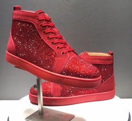 high soled shoes Coupons - Brand New Arrival Woman Causal Shoes Man Sneakers Comfortable High Top Crystal Spikes Red Sole Black Blue Shoes Drop Shipping Original Box