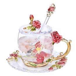 copas de esmalte Rebajas Esmalte de vidrio café tazas de té y café de color resistente al calor copas de agua del Ministerio del Interior Vaso regalo de los amantes