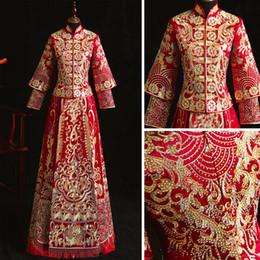 Traje de torrada on-line-Floral Vestidos de Strass Elegante Cheongsam Royal Toast Clothing Costume Clássico Botão Qipao Bordado Mulheres Vestido de Noite