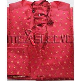 Smoking oro rosso online-Tuxedo rosso spedizione gratuita con set gilet in oro