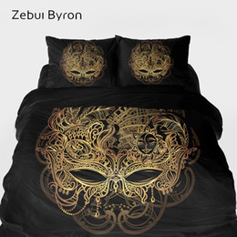 3d quilts covers king size Promo Codes - 3D HD Bedding sets,Duvet Cover set King Queen Custom Size,Bed Set Black Golden mask ,Blanket Quilt Cover Set,luxury Bedclothes