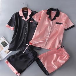 maillots de sport de marque Promotion Nouveau satin Pyjama turn-down col à manches courtes Shorts soie Pijama Mujer Emulation solide soie Pyjama Femmes Sexy Rose Accueil Costume