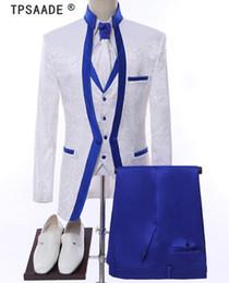 Weiß Royal Blue Rim Bühne Kleidung Für Männer Anzug Set Mens Hochzeit Anzüge Kostüm Bräutigam Smoking Formal (Jacke + pants + weste + tie) von Fabrikanten