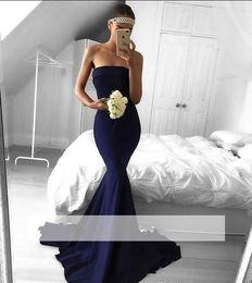 Bleu marine robe de bal de sirène 2019 tache New gaine sans bretelles soirée robe de soirée formelle Sexy Vintage Pageant robe robe longueur du plancher ? partir de fabricateur