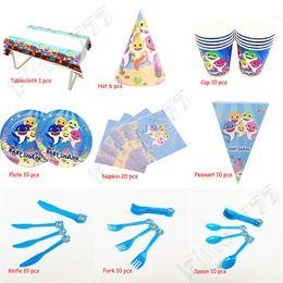 Tenedor cuchillo para fiesta online-9 estilos (87 piezas) / juego Baby Shark Party Supplies Artículos de fiesta de cumpleaños Banderas coloridas de triángulo Bandeja de papel Taza Cuchillo Tenedor Cuchara