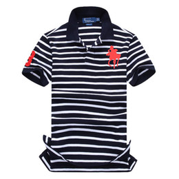 2019  striped  shirt cotton mens  shirts with short sleeve big horse logo homme de marque haute qualite от