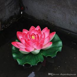 2019 stagno di giglio d'acqua Decorazioni fiori artificiali gomma piuma di EVA Water Lily Lotus Pond Simulazione Waterlily colorato decorazione perfetta Battesimo festa di nozze stagno di giglio d'acqua economici