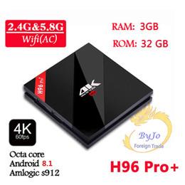H96 Pro + 2G 3G DDR3 16G 32G Flash 2.4G 5GHz Wifi HD2.0 Iptv 4K caja S912 tv tv Octa Core Android 8.1 caja de tv Android elegante H96 PLUS Set top desde fabricantes