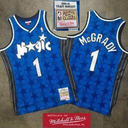jersey di orlando Sconti Mens OrlandoMagia Tracy McGrady 1 swingman Jersey Retro 2000-01 Blue Star Hardwoods Classics pallacanestro Jersey Mitchell Nes Patch