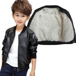 Desgaste de los grandes online-Boys Winter Plus Velvet Thicken Chaqueta de cuero Chaqueta Ropa de niños Big Boy PU Leather
