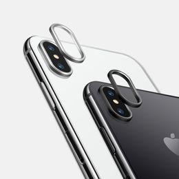2019 cámara de protección iphone Guardia de la cámara de lujo Círculo Lente de metal Bumper para iPhone XS MAX XR 7 7 Plus 8Plus Anillo protector de lente cámara de protección iphone baratos