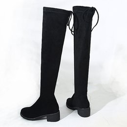 su stivali al ginocchio slim fit Sconti 2019 Nero Sexy Slim Fit Elastico Flock Over The Knee Boots Scarpe donna Autunno Inverno donna tacco alto Lungo coscia Alta botas