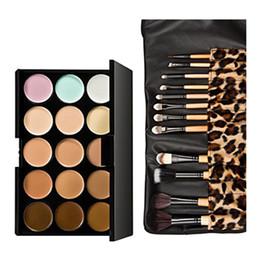 2019 paleta 15 piezas Kits de paleta de corrector de maquillaje de 15 colores en crema con 12 pcs Fundación Blush Powder Corrector de maquillaje corrector de maquillaje conjunto paleta 15 piezas baratos