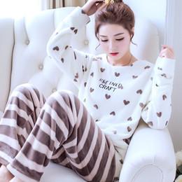 Winter Warm Coral Fleece 2PCS Sleepwear Women Long Sleeve Pajama Pyjama PJ  Set Cartoon Cute Nightwear Suit Thicken Home Wear 9d273f804