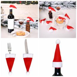 2019 decorações vermelhas em prata de mesa de natal Decoração Tabela bolso bandeja de prata Chapéu do Natal 10pcs Red Wine Bottle Cap Cap Natal decorações vermelhas em prata de mesa de natal barato