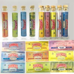 rollpatronen Rabatt DANKWOODS 120 * 21mm Pre Roll Verpackung E-Zigaretten Dampf Leere Glasrohr Holzflasche Kork Tipps Patronen Aromen Aufkleber 250 teile / los