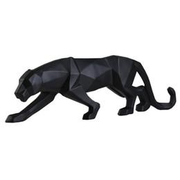 Moderne Abstrait Noir Panthère Sculpture Géométrique Résine Léopard Statue Faune Décor Cadeau Artisanat Ornement Accessoires Ameublement Q190522 ? partir de fabricateur
