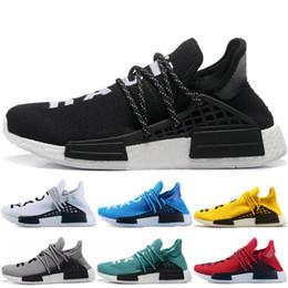 2019 zapatos originales de la raza humana Adidas nmd human race Zapatillas de running originales para hombres, mujeres y humanos, Pharrell Williams Hu, rojo, amarillo, blanco, negro, gris, para hombre,zapatillas deportivas zapatos originales de la raza humana baratos