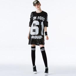 Deutschland Pailletten langes T-Shirt Jazz Dance Wear Hip Hop Street Dance Kostüme Bühnenauftritt Kleid Cheerleading Tees Versorgung