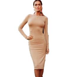 sopra il collare del vestito dall'abito Sconti Vestito da bodycon aderente da donna elegante per l'autunno-inverno manica lunga o-collo manica lunga slim casual con scollo a barchetta sul retro