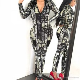 3773fb506b2d New Women Tight Jumpsuits Chain Digital Printing Long Sleeve Coverall  Zipper Body suit Chain Digital printing Long sleeves Rompers NB-693