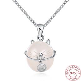 2019 katze anhänger halsketten für frauen Rosa süße Katze Swarovski Elements 925 Silber Modeschmuck Tiere Vintage Halsband Anhänger Halsketten für Frauen Edelstein einzigartige Designs