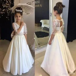 067397a7d 2019 vestidos adolescentes para bodas Blanco Una línea Vestidos de niña de  flores para bodas Joya
