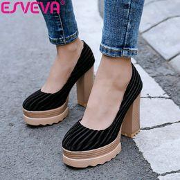 2019 каблуки западного стиля ESVEVA 2019 Женские туфли на высоком каблуке с квадратным носком в полоску на плоской подошве Flock + PU Slip на платформе Western Style 2.5cm Размер34-39 скидка каблуки западного стиля