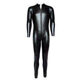 Sexy spandex suit man on-line-Zíper Frontal dos homens METÁLICO Wet Look Shiny Lycra Segunda Pele Spandex Bodysuit Catsuit Corpo Inteiro Fato Zentai Fetish Sexy