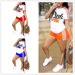 vs shirt Promo Codes - Women Pink Summer Outfit S-3XL 2Piece Letter Print Tracksuits Striped Pink Letter Short sleeve Tops T shirts Shorts Jogger Suit VS A368