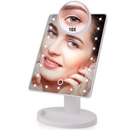 Canada 22 LED lumières miroir de maquillage à écran tactile 1X 10X Table Desktop Countertop Bright USB réglable Câble ou Batteries Utilisez Drop ship Offre