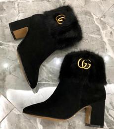 Chaussures de vison en Ligne-Dernière arrivée hiver bottes femme Semelle en cuir de haute qualité Bottes de cheville femme Designer chaussures Mink cheveux bottes à talons hauts