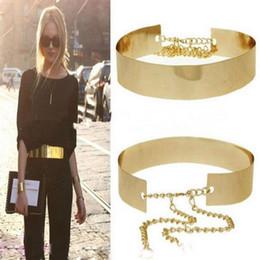 ouro cintos metálicos mulheres Desconto 1 PC 66 cm Mulheres Cintos Cintura Punk Full Metal Espelho Cintura Cinto Metálico Placa De Ouro Ampla Cummerbunds Com Cadeias de Senhora