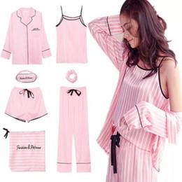 Camisola de seda de seda de pijamas de seda on-line-Rosa Pijama Listrado Pijamas de Cetim De Seda Pijama Set 7 Peças de costura lingerie Robe pijamas Mulheres Pijamas pjs